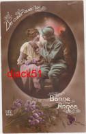 Militaria / Bonne Année / Soldat (Poilu) / Couple Amoureux / 1917 / 2 Scans - Paare