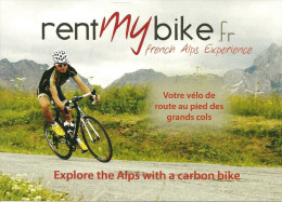 Feuillet Publicitaire Format CP Cycliste, Montagne, French Alps, Grands Cols, Rent My Bike - Radsport