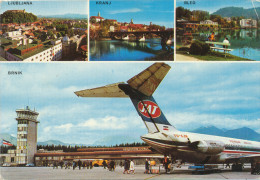 AIRPORT , BRNIK , LJUBLJANA , JAT DC 9, PLANE , Vintage Old Postcard - Aerodromi
