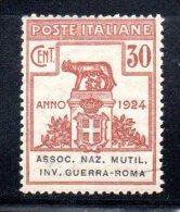 Y270 - REGNO , Parastatali N. 8  * Mint  Assoc,naz.mutil.inv.guerra-roma - 1900-44 Victor Emmanuel III