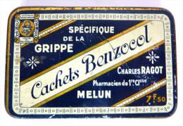 Petite Boîte En Fer Blanc En BEL ETAT - CACHETS BENZOCOL Spécifique De La Grippe C Ragot - Scatole