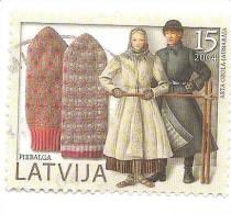 2004 Latvia Gloves  - Folk Costume ; Popular Articles 15 SANTIMI   Used (0) - Lettonie