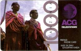 TARJETA DE TANZANIA DE 1000 UNITS DE ACG TELESYSTEMS CON BANDA MAGNETICA - MASAIS - Tanzania
