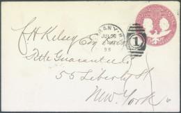 United States 2c Columbus And Liberty Postal Stationery Travelled 1893 Bb - ...-1900