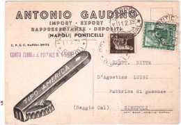 PONTICELLI NAPOLI ANTONIO GAUDINO RAPPRESENTANZE EXPORT  STORIA POSTALE 1939 - Storia Postale