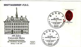Deutschland-Ersttagbrief, FDC 17.5.1977,Mi 938,Universität Mainz,Madonna, Wappen Des Kurfursten - BRD