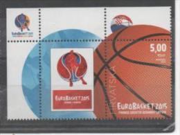 Croatia, MNH, Basketball, European Championship 2015, Stamp+vignette - Baloncesto