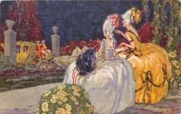 ILLUSTRATEUR W. KLETT ART DECO MARQUISE BOURGEOISE COCHER ROBE MODE N°606 - Illustrateurs & Photographes