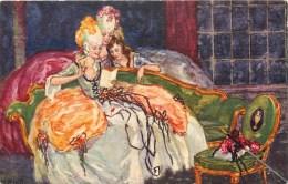 ILLUSTRATEUR W. KLETT ART DECO MARQUISE BOURGEOISE LISANT UNE LETTRE ROBE MODE N°607 - Illustratori & Fotografie