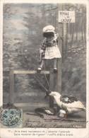 SERIE DE 5 CPA : FILLETTE CAPTURANT UNE OIE FERME DU CHENAY BISCUITS CHABLIS FILLETTE BABY FANTAISIE KID CHILD 1900 - Collezioni & Lotti