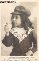 SERIE DE 5 CPA : FILLETTE ENFANT AU CIGARE ET A LA CIGARETTE TABAC HUMOUR ENFANTINA CARTE PHOTO COSTUME - Ritratti