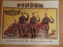 Affiche De Cirque Originale Pinder. La Marche Triomphale Des éléphants Géants. Le Plus Grand Spectacle Circus. 44/56 Cm. - Posters