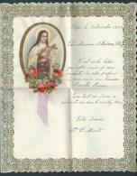 Grande Lettre De Voeux à Système, Manuscrite. Ste Thérèse En Médaillon(collage) Bords Et Roses En Relief  Ruban Satin - Vieux Papiers