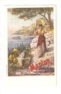 CPA Carte Publicitaire PLM Paris Lyon Méditerranée MENTON  Illustration Hugo D'Alesi ( ? ) - Eisenbahnen