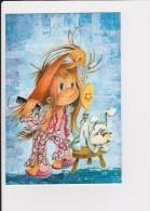 Carte Brodée, Jeune Garçon Qui Se Coiffe - Embroidered