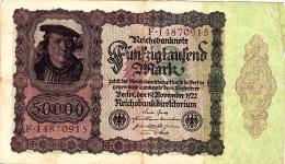Billet De Banque 50 000 Marks - 19 Novembre 1922 - N° F14870915 - 1871-1918: Deutsches Kaiserreich