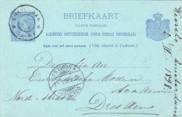 Nederland 1898 - 5 C Ganzsache Auf Pk V. Amsterdam N. Dresden - Periode 1891-1948 (Wilhelmina)