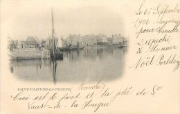 50 SAINT VAAST LA HOUGUE  VUE DU PORT CARTE PIONNIERE 1902 - Saint Vaast La Hougue