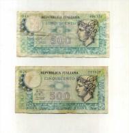 - ITALIE . BIGLIETTO DI STATO . LOT DE 2 BILLETS 500 L. 1974/79 . - 500 Lire
