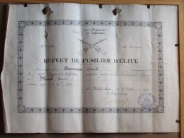 BREVET DE FUSILIER D ELITE - 1933 - 134 EME REGIMENT D INFANTERIE - 3 EME BATAILLON - 11 EME CIE - CHALON SUR SAONE - Documents