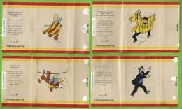 Série Complète BD Tintin 4 étiquettes Alimentation Emballages Chocolat Marque Jeff De Bruges  Milou Haddock - Etichette