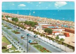 L3022 Riccione (Rimini) - Viale A Mare E Spiaggia - Beach Plage Strand Playa - Auto Cars Voitures / Viaggiata 1973 - Italie