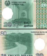 Tajikistan #12a, 20 Diram, 1999 (2000), UNC - Tadschikistan
