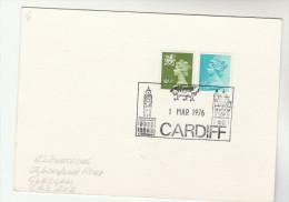 1976 GB Stamps COVER (card) CARDIFF  EVENT Pmk Illus DRAGON, CLOCK , Dragons - Mythology