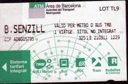 Biglietto Di Trasporto Autobus O Metropolitana (Barcellona) - Non Classificati