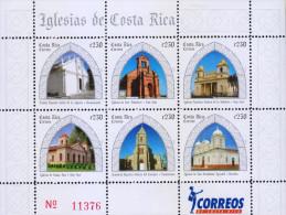 RG)2008 COSTA RICA, CHURCHES IN COSTA RICA, MINISHEET, MNH - Costa Rica
