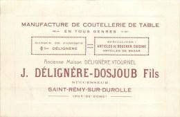 """63 - SAINT-REMY-SUR-DUROLLE - MANUFACTURE DE COUTELLERIE """"DELIGNERE-DOSJOUB"""" - CARTE COMMERCIALE ANCIENNE FORMAT CPA -TB - Unclassified"""