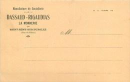 """63 - LA MONNERIE - SAINT-REMY-SUR-DUROLLE - MANUFACTURE DE COUTELLERIE """"DASSAUD-RIGAUDIAS"""" - CARTE ETAT -TB - Unclassified"""