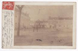 Carte Photo - Saint Gervais Les Trois Clochers - Place Du Champ De Foire (animation, Pompe/fontaine Manuelle) 1908 - Saint Gervais Les Trois Clochers