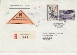 Liechtenstein 1964 Registred Nachname Brief Nach Belgium (Eupen)  Ca Triesenberg 21 IV 64  (24808) - Liechtenstein