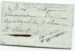 Marque De Franchise SENECHAL N°683 Com On De Commerce Et Approvisionnement  Sur LAC Du 08/07/1794 Pour NIORT - Marcophilie (Lettres)