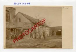 HAUVINE-CARTE PHOTO Allemande-Guerre14-18-1 WK-Militaria-France-08- - France