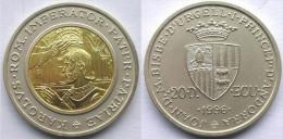 ANDORRA 20 D 1996 ARGENTO+ORO SILVER 25g 92,5% + GOLD 1,6g 91,7% RARE IMPERATOR CAROLUS ROM PATER PATRIE CONSERVAZIONE F - Monete