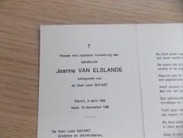 Doodsprentje Jeanne Van Elslande Wervik 6/4/1909 Ieper 10/12/1986 ( Leon Bayaert ) - Religion & Esotérisme