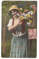 Maroc - D´aberkane Souvenir, Je Vous Envoie Ces Fleurs Femme Timbre 10 Centimos 1909 - Autres
