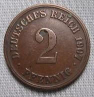 GERMANY 1907D - 2 PFENNIG - [ 2] 1871-1918 : German Empire