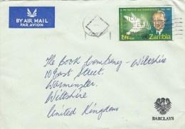 Zambia 1962 Lusaka Barclays Bank Dove Peace Nobel Prize Hammarskjold Cover - Nobelprijs