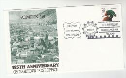 1991 USA GEORGETOWN POST OFFICE 125th ANNIV Rompex EVENT COVER Pmk DENVER RAILROAD Duck Bird Train - Post