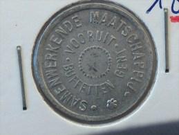 JETON NECESSITE 1880 SAMENWERKENDE MAATSCHAPPIJ BUFFETTEN VOORUIT GENT 10 - Monétaires / De Nécessité