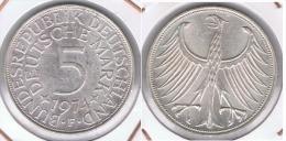 ALEMANIA 5 DEUTSCHE MARK F 1974 PLATA SILVER Z - [ 6] 1949-1990 : RDA - Rep. Dem. Alemana