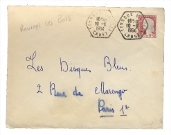 """1964 CACHET À DATE CORRESPONDANT POSTAL """"LEVROUX (INDRE) / CP N°8"""" SUR PLI DE ROUVRES-LES-BOIS - 1961-...."""