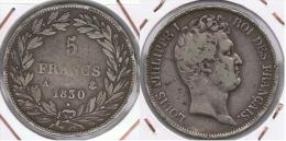 FRANCIA FRANCE 5 FRANCS 1830 LUIS FELIPE A PLATA SILVER Z - J. 5 Francos