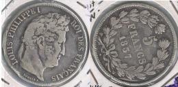 FRANCIA FRANCE 5 FRANCS 1837 LUIS FELIPE W PLATA SILVER Z - J. 5 Francos