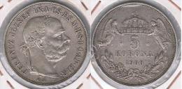HUNGRIA  AUSTRIA 5 CORONA 1900 PLATA SILVER Z - Hungría