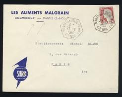 """1964 CACHET À DATE CORRESPONDANT POSTAL """"MANTES-LA-JOLIE (S.&O.) / CP N°6"""" SUR PLI DE GOMMECOURT - 1961-...."""