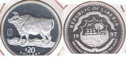 LIBERIA 20 DOLLARS OUNCE ONZA 1997 PLATA SILVER Z - Liberia